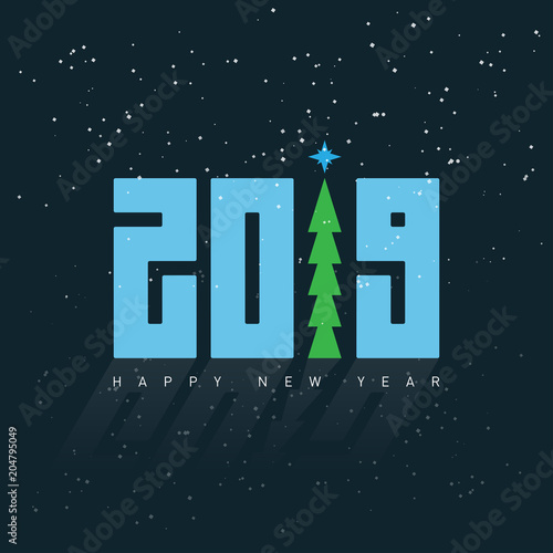 happy new year 2019 greeting card vector design template with green christmas tree and snow