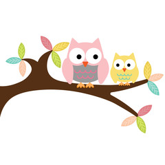 Poster Uilen cartoon Owl mom two and baby sitting on the branch on a white background