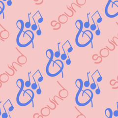Seamless pattern on a musical theme with violin key and notes drawn by hand.