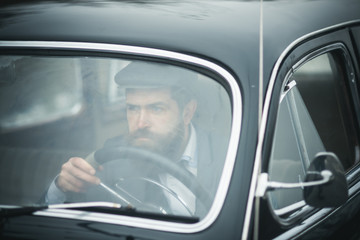 business trip of bearded man in retro car. business trip and traveling concept.