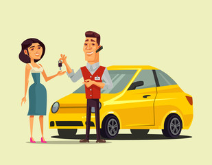 Rich happy smiling woman character buying car and seller manager man giving key to her. Transportation sale retail flat cartoon isolated vector illustration