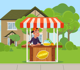 Young boy man teen character sale lemonade juice on backyard. Summer time holiday vacation relax banner poster cartoon flat illustration