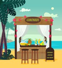 Market store sale lemonade on beach sea resort. Summer time holiday vacation relax banner poster cartoon flat illustration