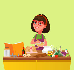 Happy smiling woman chef housewife cooking prepare cutting mixing food ingredients. Culinary home kitchen cartoon flat isolated illustration
