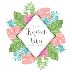 Tropical label with palm leaves. Perfect for invitations, greeting cards, blogs, posters and more. Vector illustration.