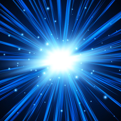 Blue explosion background with rays. Vector absrtact illustration