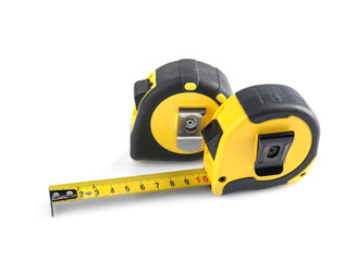 Measuring tapes on white background
