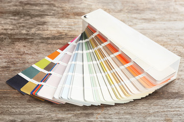 Color palette samples on wooden background