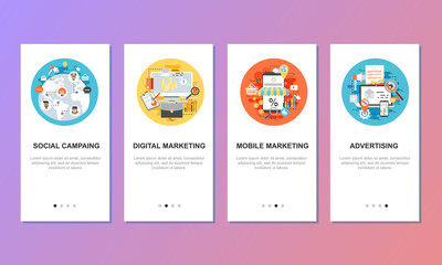 Onboarding screens for mobile app templates concept.