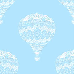 Vector seamless pattern of hot air balloon in zentangle style. White hand drawn hot air balloon on blue sky background