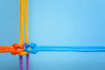 Different ropes tied together with knot on color background. Unity concept