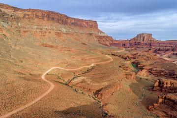 canyon road in Utah - aerial view