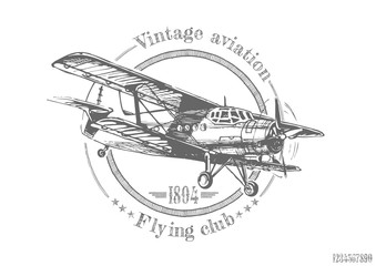 illustration of vintage Biplane