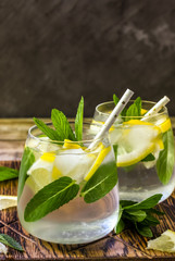 Detox water with lemon and mint.