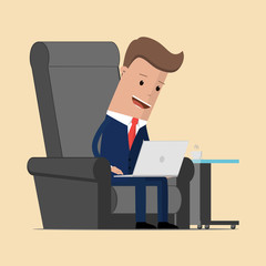 Businessman is sitting on a armchair with laptop. Vector illustration
