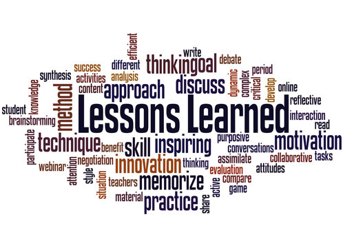 Lessons learned word cloud concept