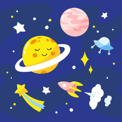 Night sky with cartoon planets, rocket and stars.