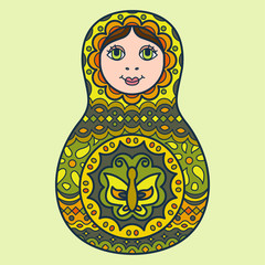 Russian traditional nested doll (matryoshka). Symbol of Russia. Template for style design.