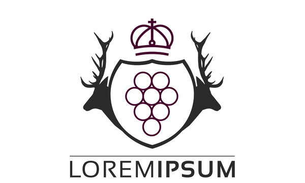 Deer Hunting Crest Logo Original Hirsch Logo Trauben Wappen