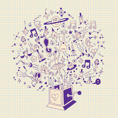 music box illustration with note book paper background