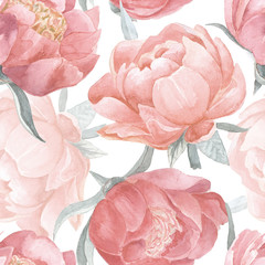 Peony bloom watercolor seamless pattern. Hand painted vintage floral seamless background.