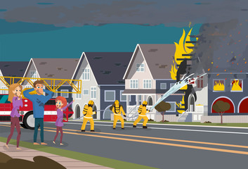 Firefighters Extinguish House. Insurence Concept.
