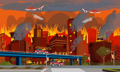Concept of Human Disaster. Extinguish City Fire.