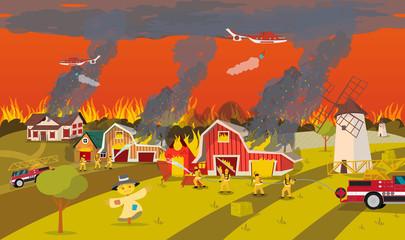 Firefighters Extinguish Farm. Concept Forest Fire.