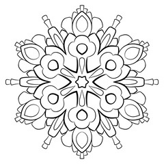 Contour mandala for color book. Monochrome illustration. Symmetrical pattern in a circle. A beautiful image for scrapbook. The template for printing on fabric. Picture for meditation and relaxation.
