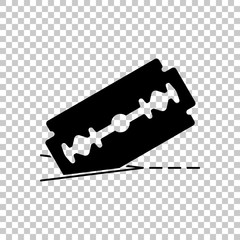 razor blade and cutting line. simple icon. On transparent background.