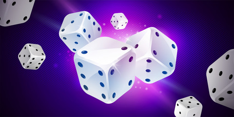 Shiny background with white game dices on dark blue. Casino gambling. Poker, table craps