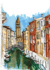 Elements of Venice, Italy. Painted sketch, art work.