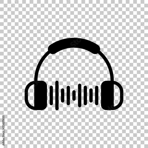 Headphones and music wave  Max volume level  Simple icon  On
