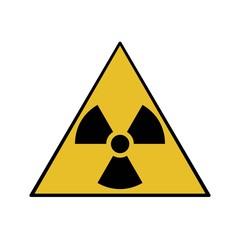 Vector illustration. Radioactive hazard. Triangle sign of radioactivity. Safe sign.