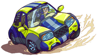 Vector Cartoon Rally Car Spinning Out or Drifting