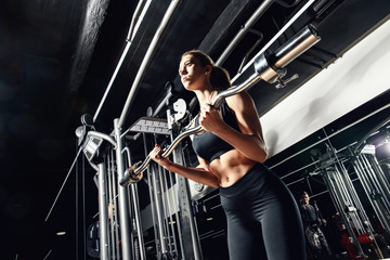 woman is training muscles