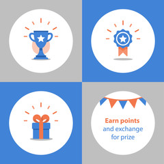 Win super prize, reward program, winner cup, first place bowl, achievement and accomplishment concept, flat icon