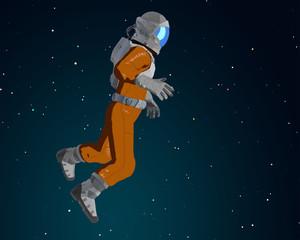 Cartoon astronaut in the space