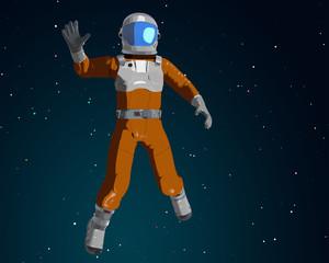 Waving cartoon astronaut waving in the space