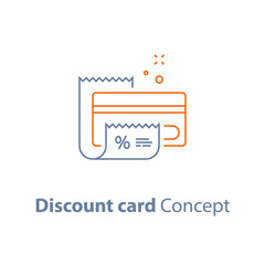 Loyalty program, discount card, till slip, credit card payment, vector outline icon