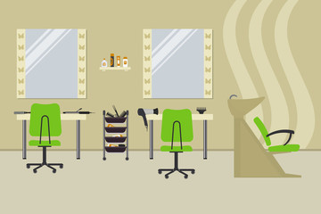 Interior of a hairdressing salon in a beige color. Beauty salon. There are tables, green chairs, a bath for washing the hair, mirrors, hair dryer, combs and other objects in the picture. Vector