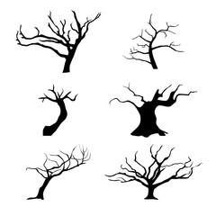 Collection of trees silhouettes.