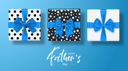 Happy Father s Day Greeting card with gifts boxes set with bow. Vector illustration.