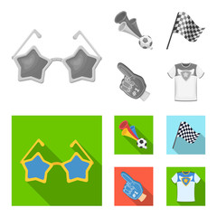 Pipe, uniform and other attributes of the fans.Fans set collection icons in monochrome,flat style vector symbol stock illustration web.