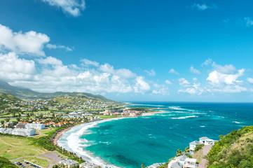 Landscape turquoise sea blue sky Caribbean Island St Kitts Fototapete