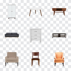 Set of design realistic symbols with chair, commode, armchair and other icons for your web mobile app logo design.