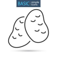 Potato tubers line basic icon