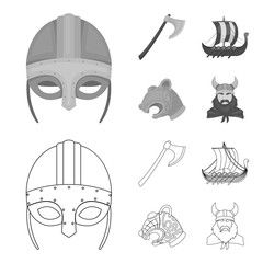 Viking helmet, battle ax, rook on oars with shields, dragon, treasure. Vikings set collection icons in outline,monochrome style vector symbol stock illustration web.