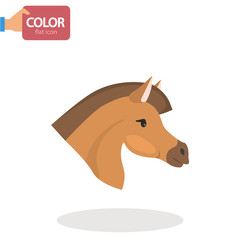 Horse head flat color icon