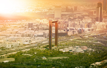 Keuken foto achterwand Dubai Dubai skyline with Dubai Frame building at sunset